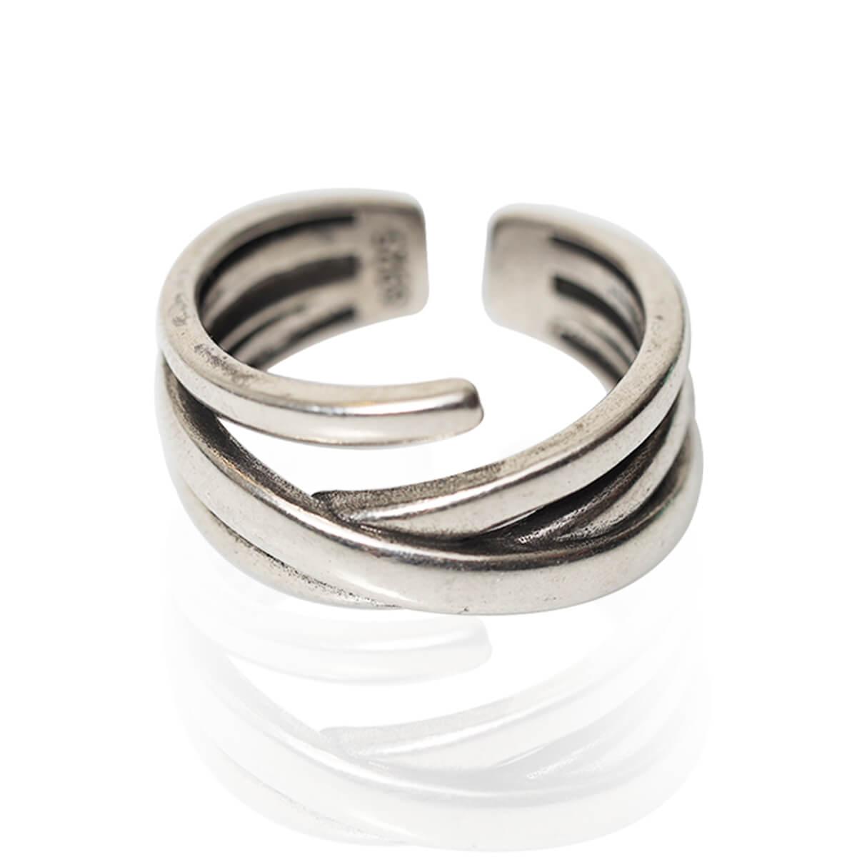 טבעת חישוקים אלגנטית לגבר ולאישה ציפוי כסף 925 עם חותמת