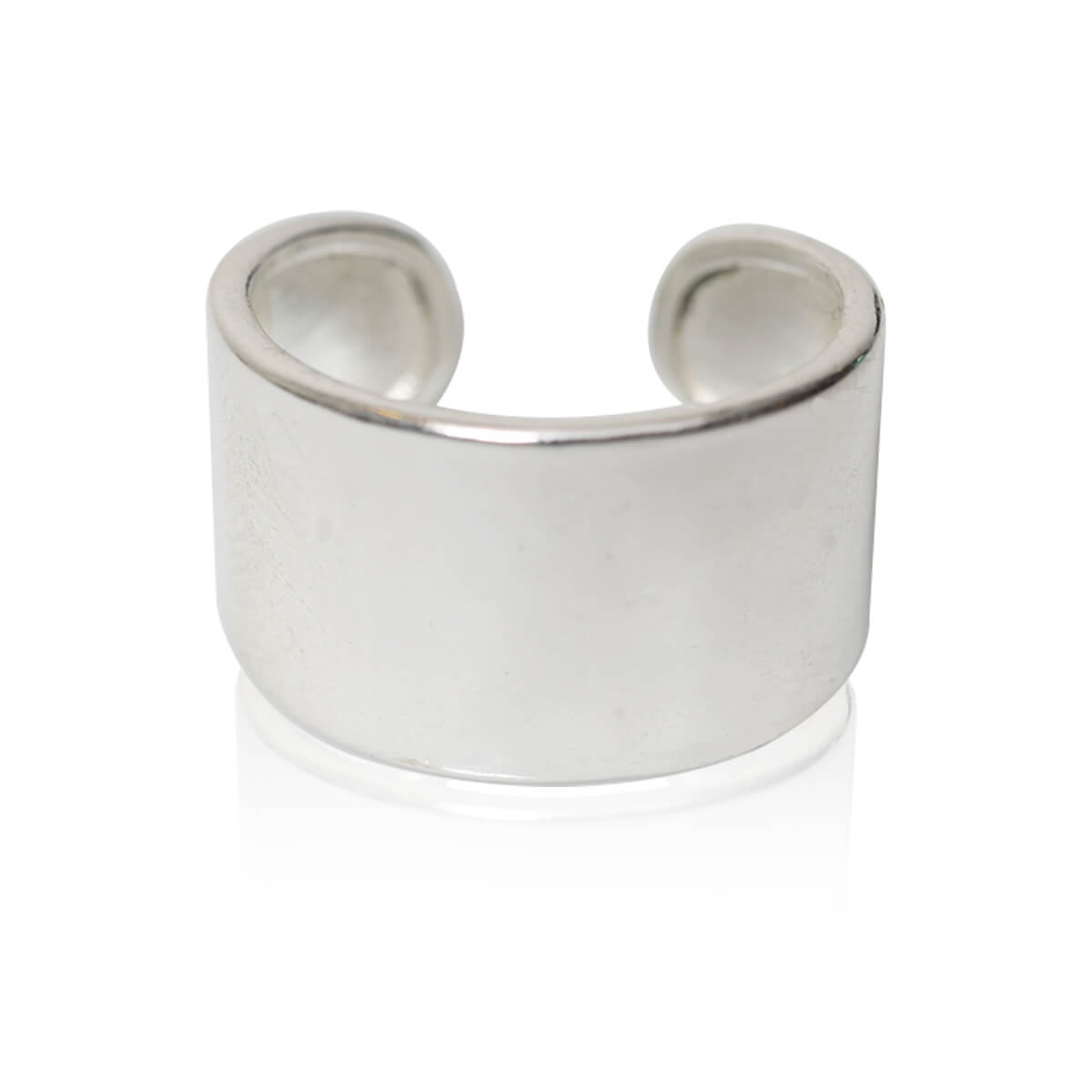 טבעת קלאסית חלקה ציפוי כסף 925 עם חותמת, טבעת פתוחה מתאימה לכל המידות