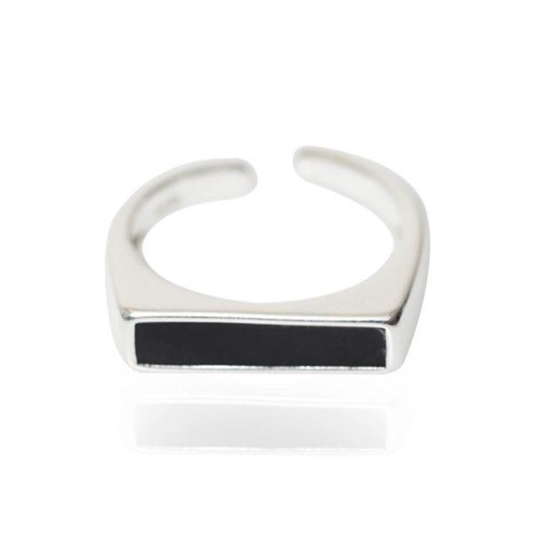טבעת שחורה כסף 925